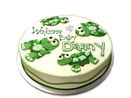 سفارش اینترنتی کیک  - کیک تولد بچه گانه لاکپشت های خندان | کیک آف