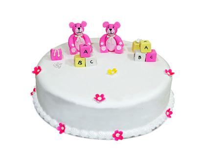 سفارش کیک تولد آنلاین - کیک تولد بچه گانه دو خرس مهربون | کیک آف