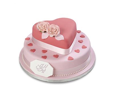 کیک تولد عاشقانه دل آذین | کیک آف