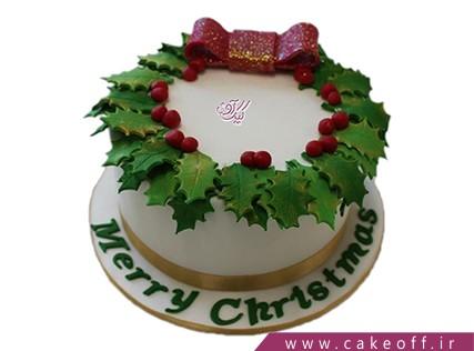 کیک جشن کریسمس - کیک حلقه ی برگ ها | کیک آف
