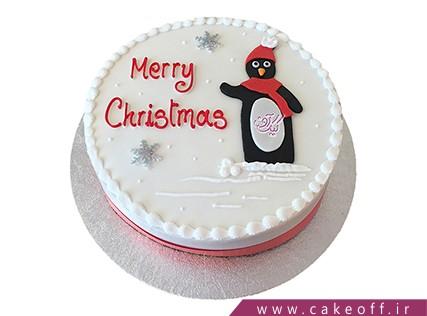 کیک کریسمس - کیک آدم برفی شال قرمزی | کیک آف