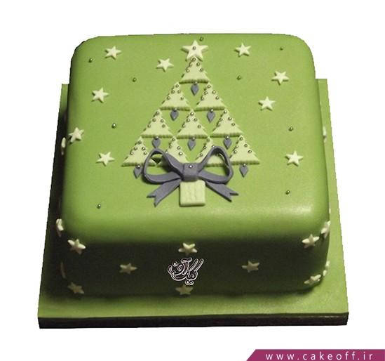 کیک جشن کریسمس - کیک مربع سبز برفی | کیک آف