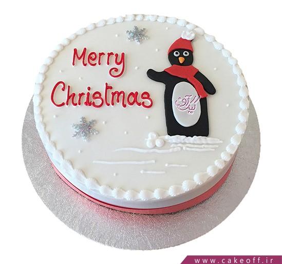 کیک آدم برفی شال قرمزی