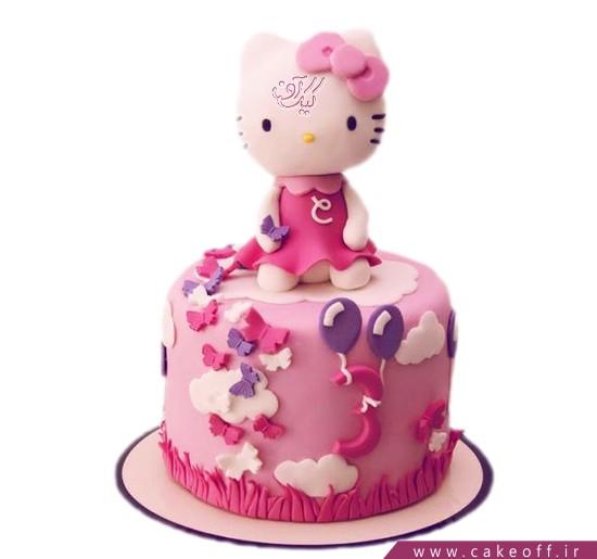 کیک تولد کودک کیتی و رقص پروانه ها