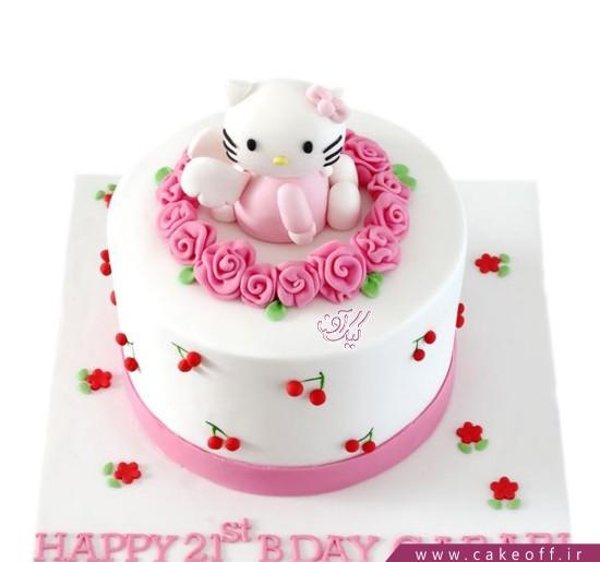 مدل کیک تولد دخترانه جدید - کیک کیتی در دامان گل ها | کیک آف
