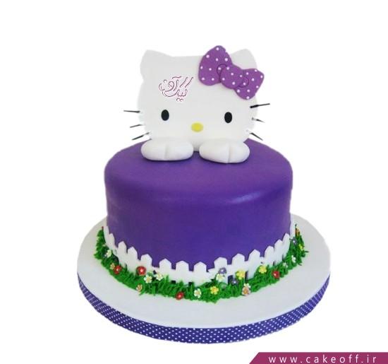 کیک تولد دخترانه کیتی در باغ بنفش