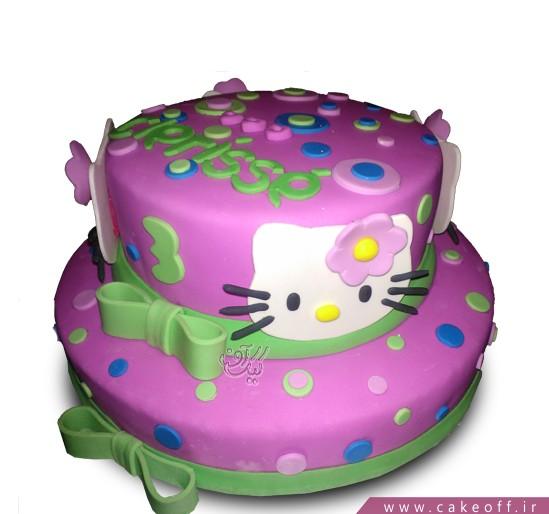 کیک تولد بچه گانه - کیک کیتی خالخالی | کیک آف