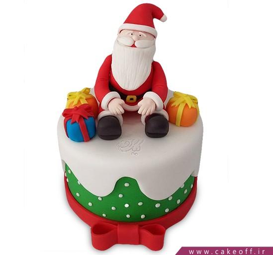 کیک کریسمس - کیک فوندانتی هدیه بابانوئل | کیک آف