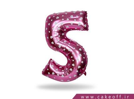بادکنک فویلی عدد - بادکنک عدد فویلی پنج صورتی | کیک آف