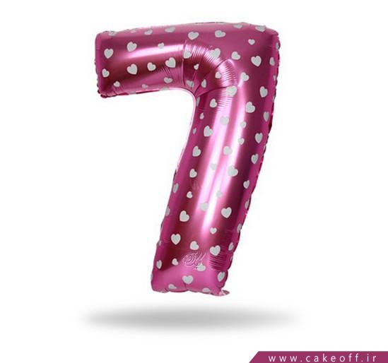 خرید لوازم جشن تولد - بادکنک عدد فویلی هفت صورتی | کیک آف