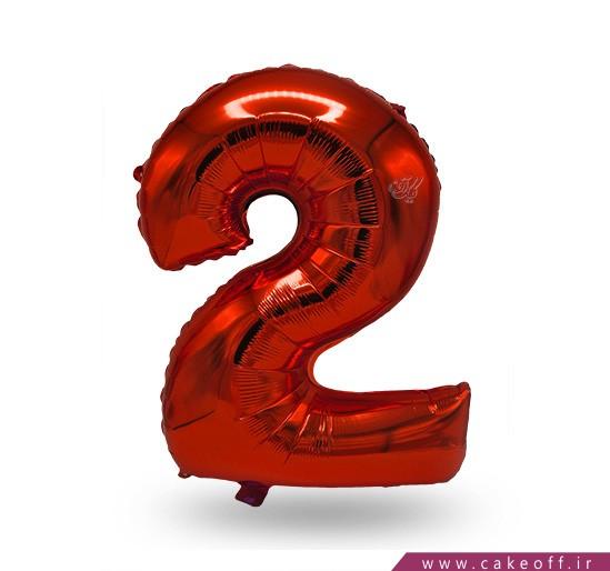 فروش آنلاین لوازم تولد - بادکنک فویلی عدد دو قرمز | کیک آف