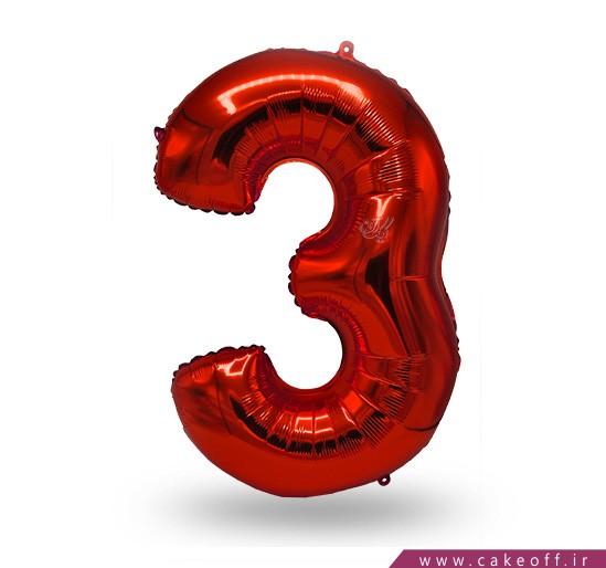 فروشگاه آنلاین لوازم جشن - بادکنک فویلی عدد سه قرمز | کیک آف
