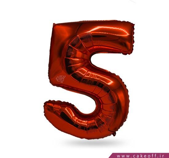 بادکنک فویلی عدد پنج قرمز | کیک آف