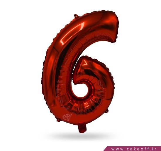 بادکنک فویلی تولد - بادکنک فویلی عدد شش قرمز | کیک آف