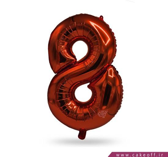 فروش آنلاین لوازم جشن در اصفهان - بادکنک فویلی عدد هشت قرمز   کیک آف