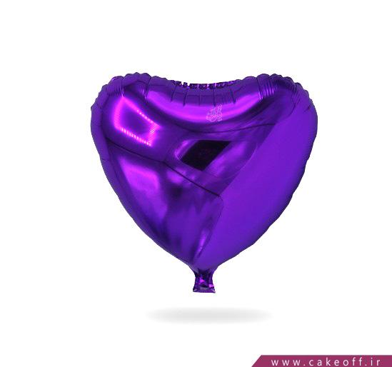 بادکنک قلبی فویلی بنفش | کیکآف