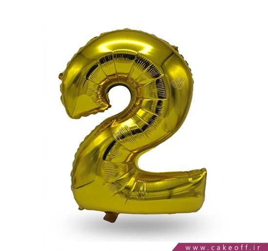 فروش آنلاین لوازم تولد - بادکنک فویلی عدد دو طلایی | کیک آف