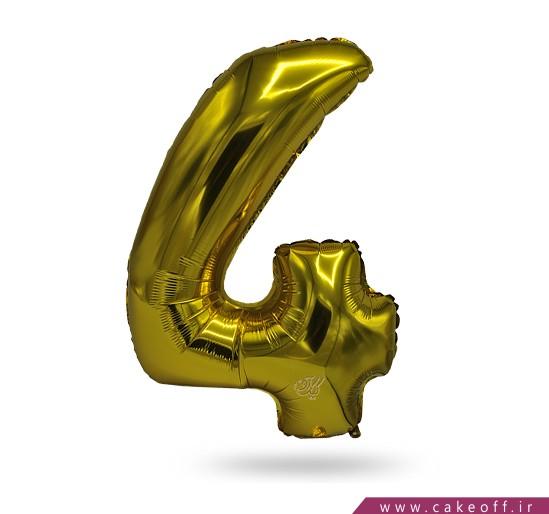 فروش آنلاین لوازم تولد - بادکنک فویلی عدد چهار طلایی   کیک آف