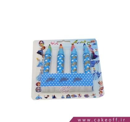 شمع تولد - شمع شعله رنگی آبی خال خالی   کیک آف