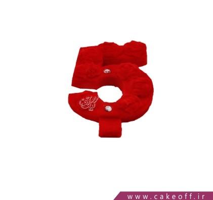 شمع تولد عدد - شمع عدد مخملی پنج قرمز | کیک آف