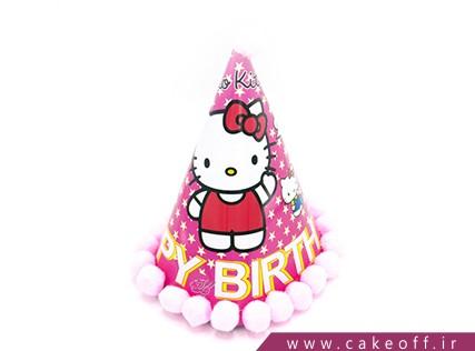 کلاه تولد دخترانه - کلاه تولد کیتی طرح توپکدار | کیکآف