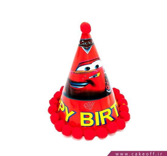 کلاه تولد پسرانه - کلاه تولد مک کوئین طرح توپکدار | کیکآف