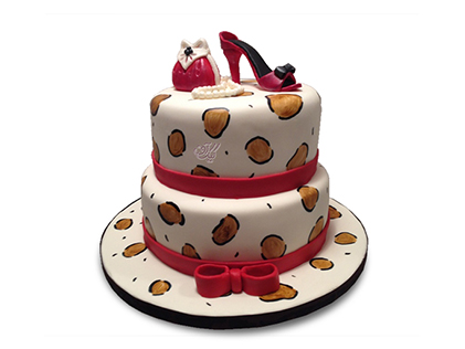سفارش کیک فوندانت - کیک کیف و کفش قرمز | کیک آف