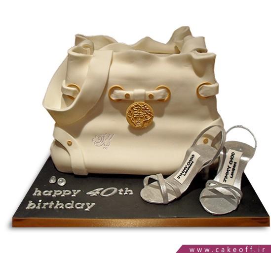کیک فوندانتی کیف و کفش سفید نقره ای | کیک آف