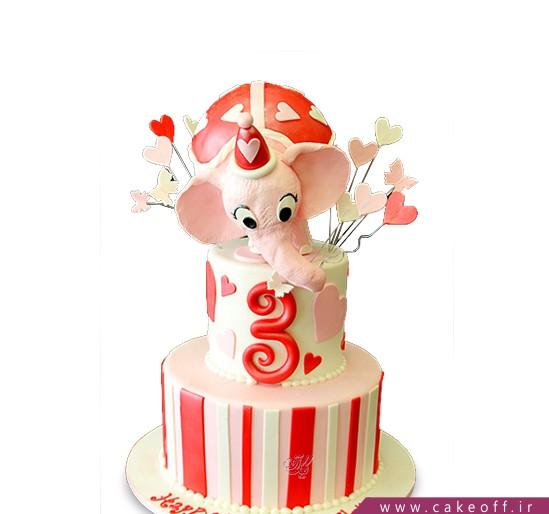کیک تولد حیوانات - کیک تولد فیل صورتی نخوری زمین | کیک آف
