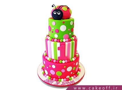 کیک کفشدوزک - کیک حیوانات - کیک تولد دخترانه کفشدوزک رنگی | کیک آف