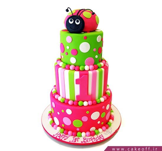 کیک تولد دخترانه کفشدوزک رنگی