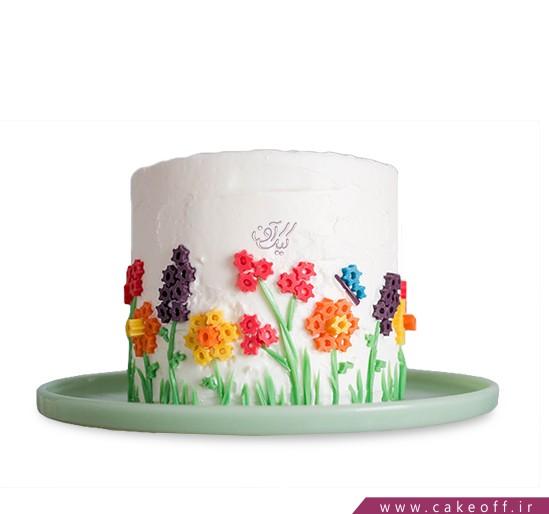 جدیدترین کیک تولد - کیک خامه ای رویش گل های بهاری   کیک آف