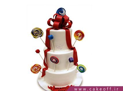 سفارش کیک تولد - کیک تولد طبقاتی آب نبات باران | کیک آف