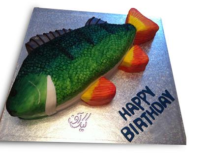 سفارش اینترنتی کیک - کیک تولد ماهی پولک سبز | کیک آف