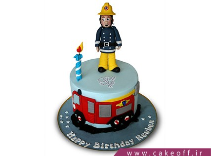 کیک روز آتش نشان - کیک شجاع قرمز پوش | کیک آف