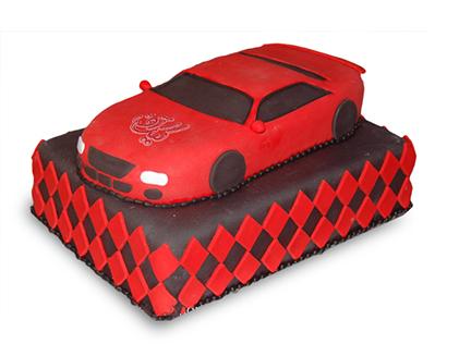 کیک تولد پسرانه - کیک ماشین لامبورگینی قرمز | کیک آف