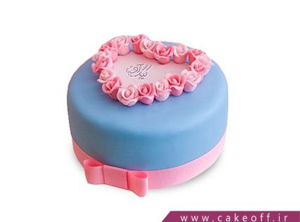 سفارش کیک عاشقانه - کیک آبی دل | کیک آف