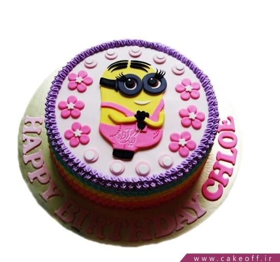 کیک مینیون گل دختر