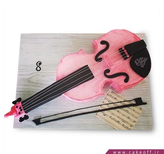 کیک تولد موسیقی - کیک ویولن صورتی | کیک آف