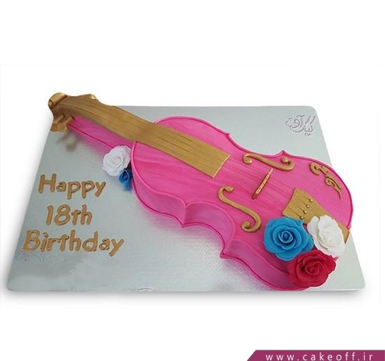 کیک تولد موسیقی - کیک ویولن گلدار | کیک آف