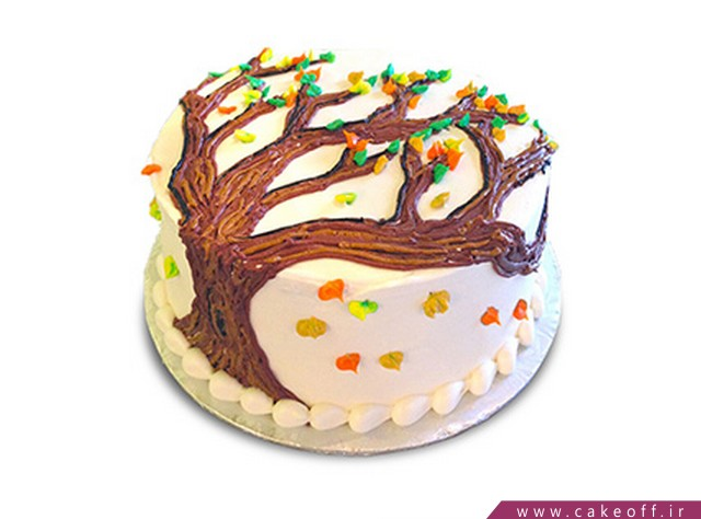 کیک تولد با تم پاییز - کیک اینک پاییز | کیک آف