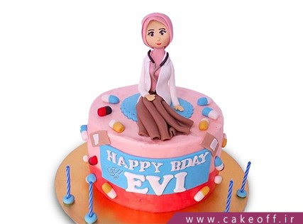 کیک روز پزشک - کیک خانم دکتر مهربان | کیک آف