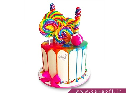 کیک تولد رنگین کمان - کیک آب نبات رنگی | کیک آف