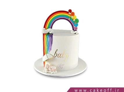 کیک تولد نوزاد- کیک تولد آبشار رنگین کمان | کیک آف