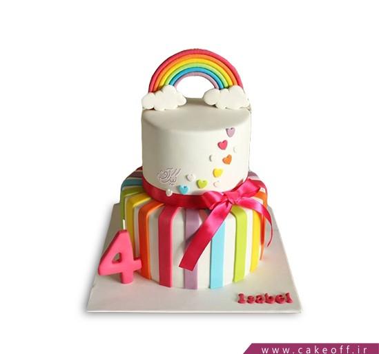 کیک تولد رنگین کمان آسمونی