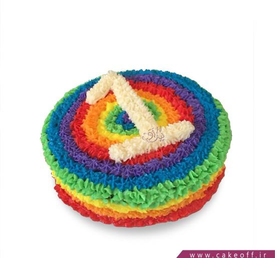 کیک عدد یک رنگی رنگی