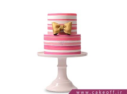 سفارش اینترنتی کیک تولد - کیک صورتی راه راه | کیک آف