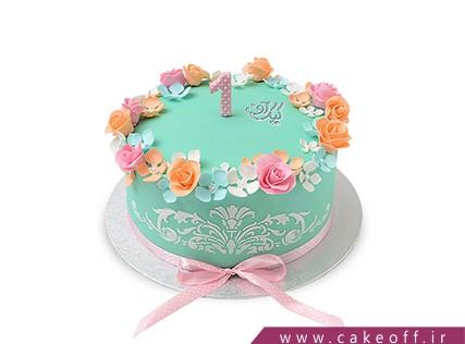 کیک تولد یکسالگی گل فیروز | کیک آف