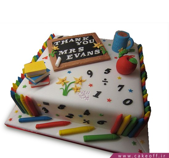 کیک روز معلم زنگ الفبا