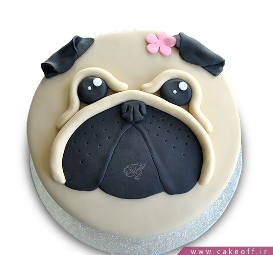 کیک تولد بچه گانه سگ گل به سر